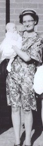 Aunty Doff holding Fiona at her christening