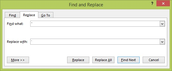 Use MS Word's Find and Replace function to change double quote marks to singles