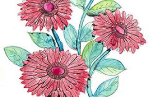 Gerberas 2 – watercolour and ink on paper (c) Jennifer Mosher