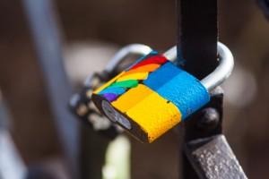 LGBT love lock on streets of Kyiv, Ukraine